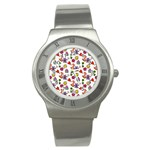 Doodle Pattern Stainless Steel Watch Front