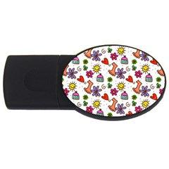 Doodle Pattern USB Flash Drive Oval (4 GB)