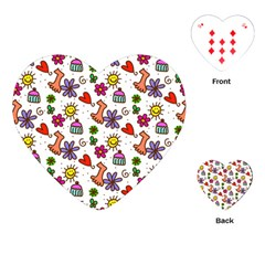 Doodle Pattern Playing Cards (Heart)