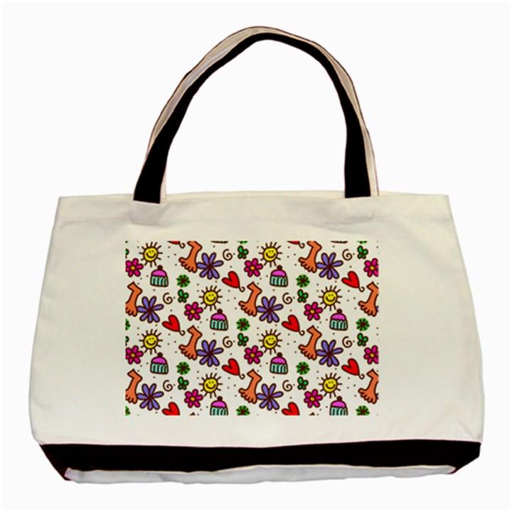 Doodle Pattern Basic Tote Bag
