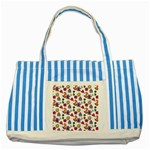 Doodle Pattern Striped Blue Tote Bag Front