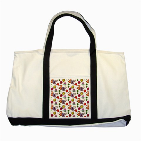 Doodle Pattern Two Tone Tote Bag