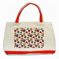 Doodle Pattern Classic Tote Bag (Red)