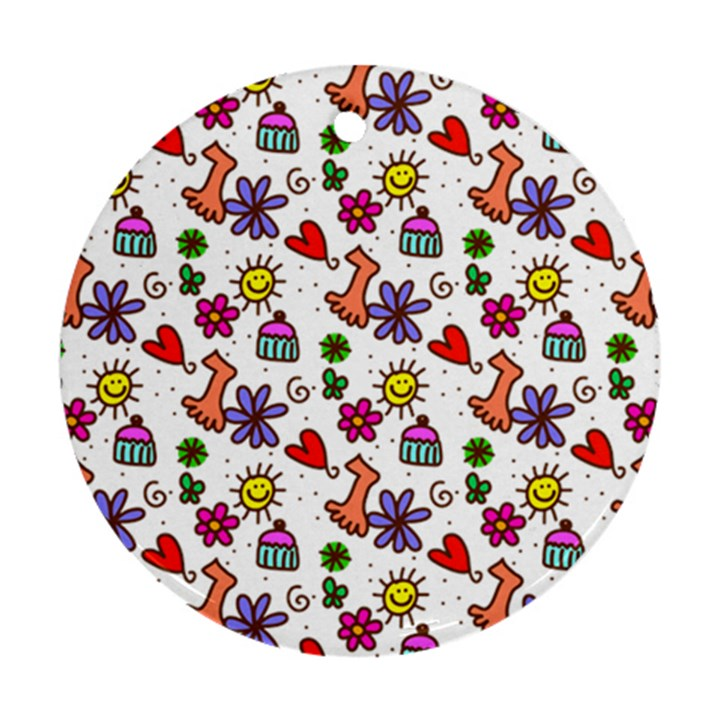 Doodle Pattern Round Ornament (Two Sides)