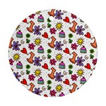 Doodle Pattern Round Ornament (Two Sides)  Back