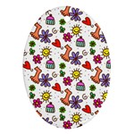 Doodle Pattern Oval Ornament (Two Sides) Front