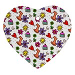 Doodle Pattern Heart Ornament (2 Sides) Front