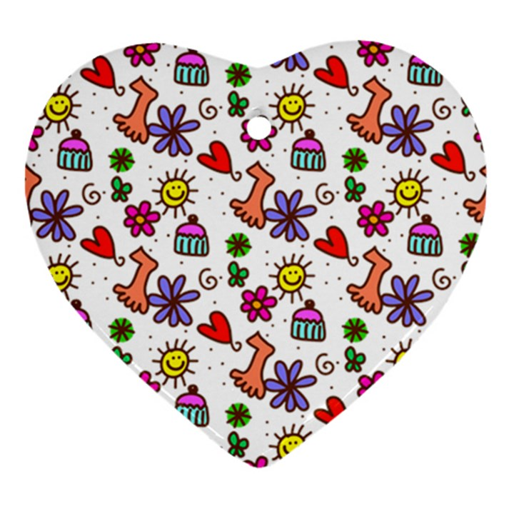 Doodle Pattern Heart Ornament (2 Sides)
