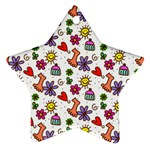 Doodle Pattern Star Ornament (Two Sides)  Front