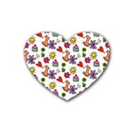 Doodle Pattern Heart Coaster (4 pack)  Front