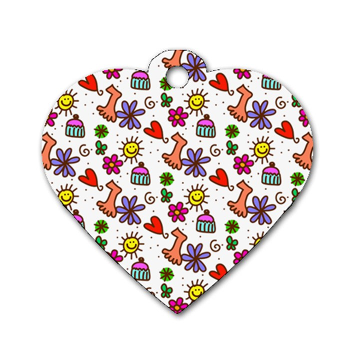 Doodle Pattern Dog Tag Heart (One Side)