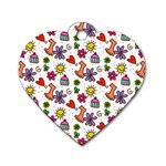 Doodle Pattern Dog Tag Heart (Two Sides) Front