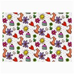 Doodle Pattern Large Glasses Cloth (2-Side) Back