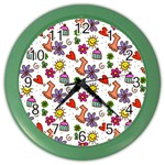 Doodle Pattern Color Wall Clocks Front