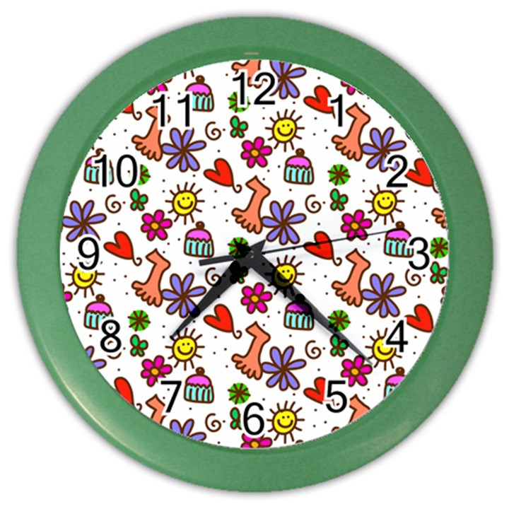 Doodle Pattern Color Wall Clocks