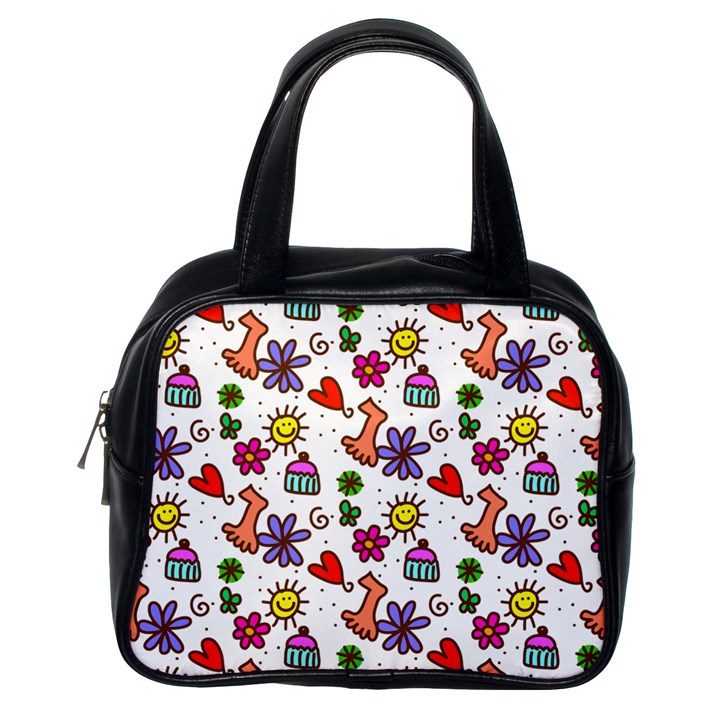 Doodle Pattern Classic Handbags (One Side)