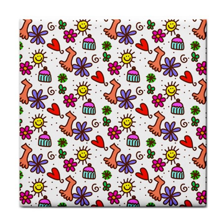 Doodle Pattern Face Towel