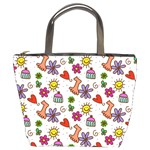 Doodle Pattern Bucket Bags Front