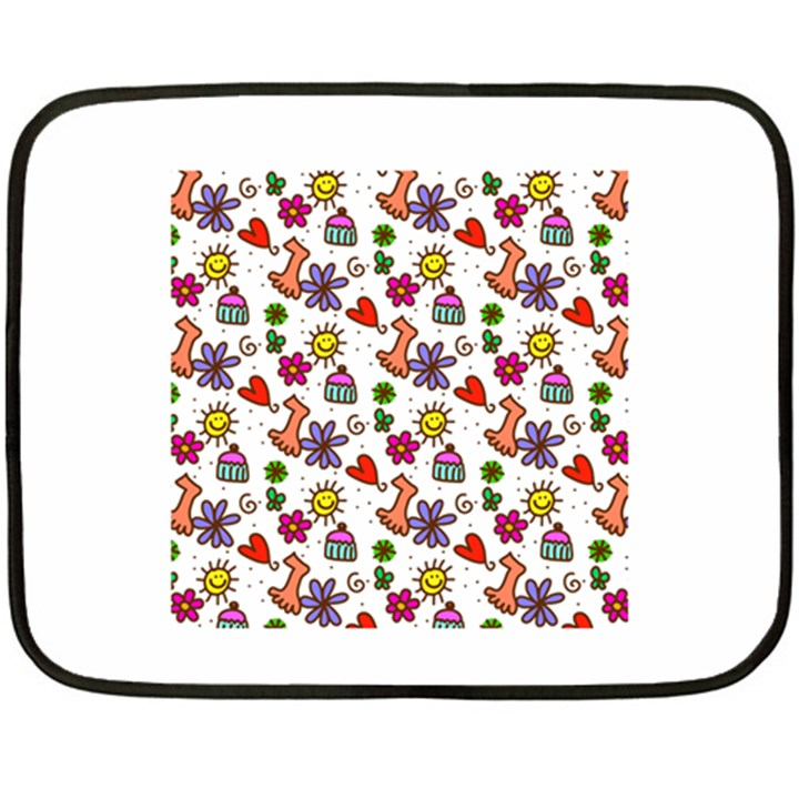 Doodle Pattern Fleece Blanket (Mini)