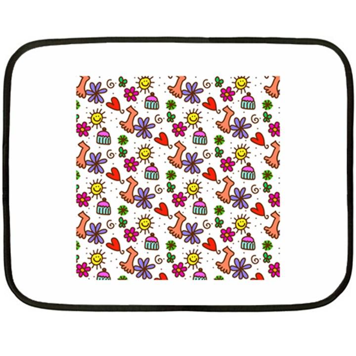 Doodle Pattern Double Sided Fleece Blanket (Mini)