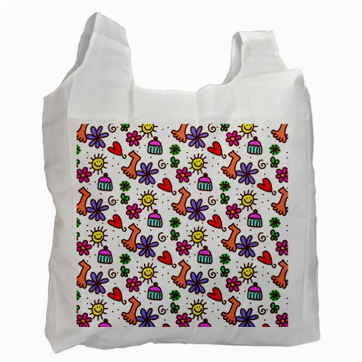 Doodle Pattern Recycle Bag (One Side)