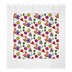 Doodle Pattern Shower Curtain 66  x 72  (Large)