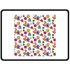 Doodle Pattern Fleece Blanket (Large)