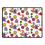 Doodle Pattern Fleece Blanket (Small) 50 x40 Blanket Front