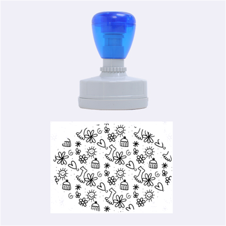 Doodle Pattern Rubber Oval Stamps