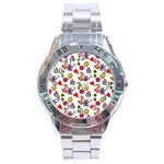 Doodle Pattern Stainless Steel Analogue Watch Front