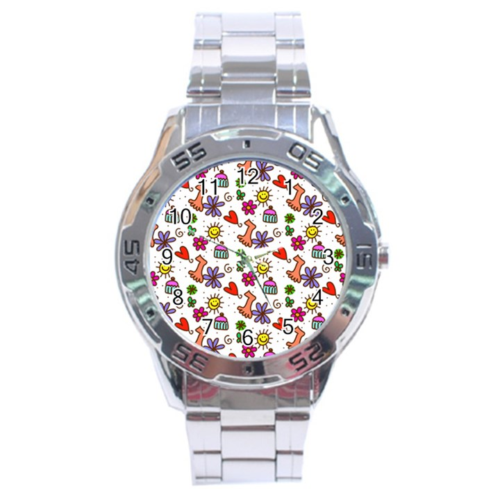 Doodle Pattern Stainless Steel Analogue Watch