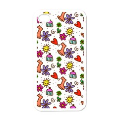 Doodle Pattern Apple iPhone 4 Case (White)