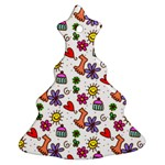 Doodle Pattern Christmas Tree Ornament (2 Sides) Back
