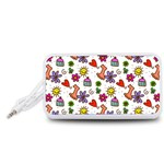 Doodle Pattern Portable Speaker (White)  Front