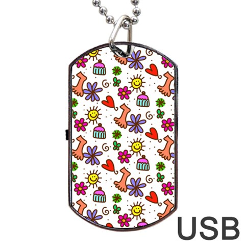 Doodle Pattern Dog Tag USB Flash (One Side)
