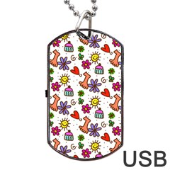 Doodle Pattern Dog Tag USB Flash (Two Sides)