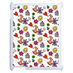 Doodle Pattern Apple iPad 2 Case (White) Front