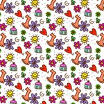 Doodle Pattern Happy Birthday 3D Greeting Card (8x4) Inside