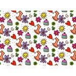 Doodle Pattern GIRL 3D Greeting Card (7x5) Back