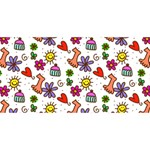 Doodle Pattern Twin Hearts 3D Greeting Card (8x4) Front
