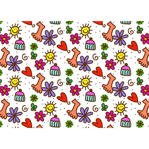 Doodle Pattern Birthday Cake 3D Greeting Card (7x5)