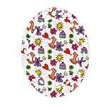 Doodle Pattern Oval Filigree Ornament (2-Side)  Back