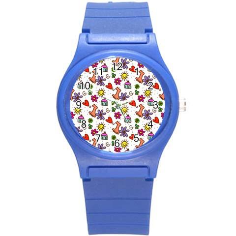 Doodle Pattern Round Plastic Sport Watch (S)