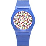 Doodle Pattern Round Plastic Sport Watch (S) Front