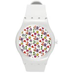 Doodle Pattern Round Plastic Sport Watch (M) Front