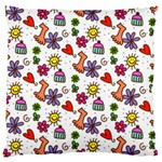 Doodle Pattern Large Cushion Case (Two Sides) Front