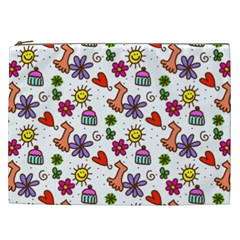 Doodle Pattern Cosmetic Bag (XXL)