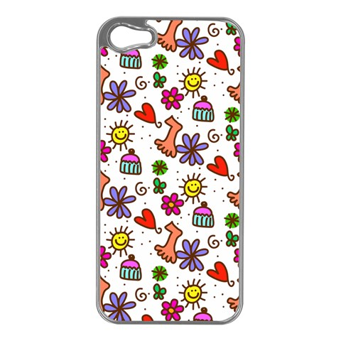 Doodle Pattern Apple iPhone 5 Case (Silver)