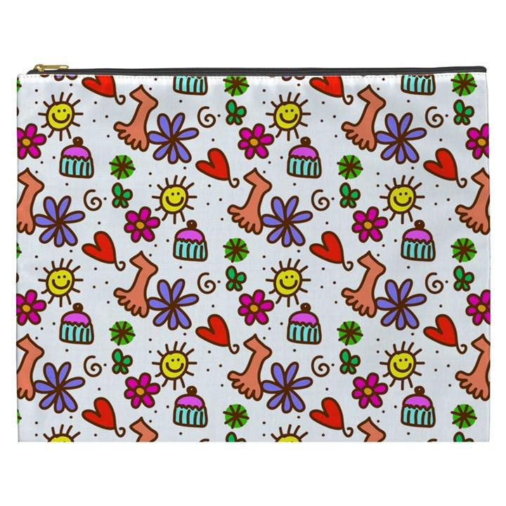 Doodle Pattern Cosmetic Bag (XXXL)