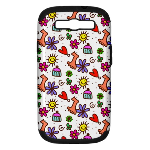 Doodle Pattern Samsung Galaxy S III Hardshell Case (PC+Silicone)